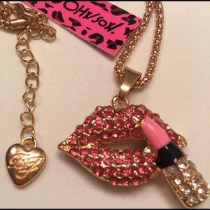NWT Sexy Betsey Johnson Lip & Lipstick Necklace